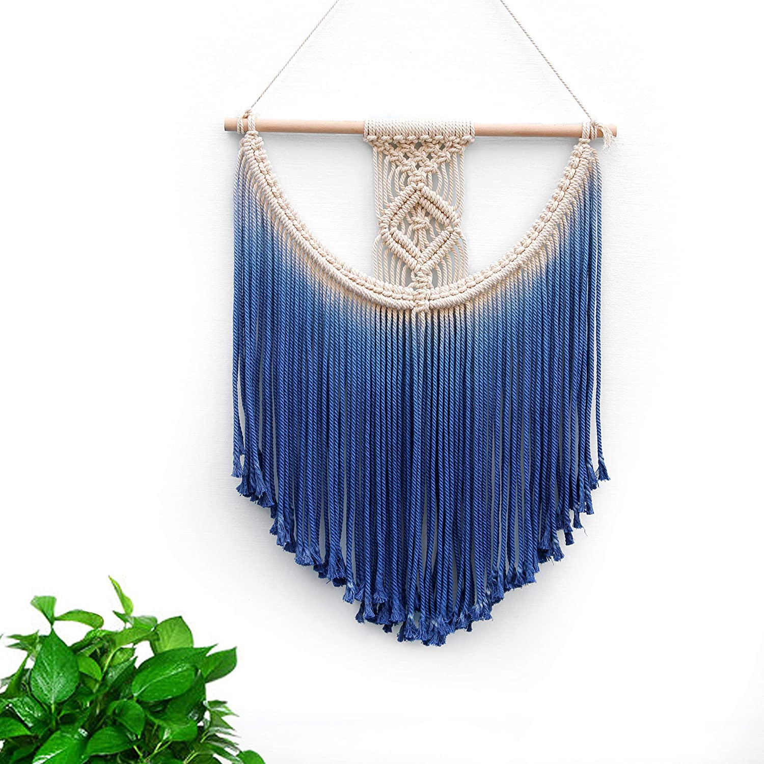 BlueMake Macrame Wall Hanging Tapestry Hand Woven Pendant Decoration House Ceremony Living Room Home Furnishing Accessories (Light Gray)