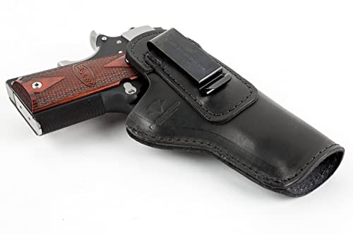 The Defender Leather IWB Holster - Fits Most 1911 Style Handguns - Kimber - Colt - S & W - Sig Sauer - Remington - Ruger & More - Made in USA