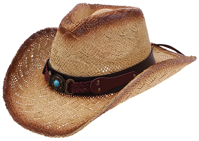 dcfed7486ae47 Enimay Outdoor Men s Womens s Western Outback Straw Canvas Cowboy Hat Stone  Brown ...