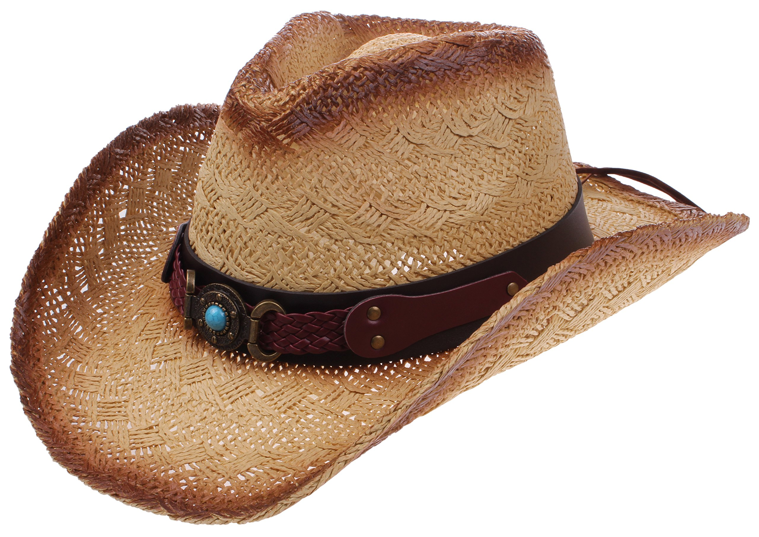 Enimay Men's Womens's Western Outback Straw Canvas Outdoor Cowboy Hat Stone Brown One Size