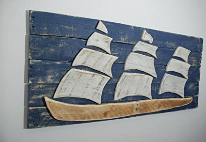 Ship Sailboat Sail Boat Wood Wall Art Reclaimed Wood Ship Sofa Art Nautical Sign Sailboat Art Sailboat Decor Wood Ship Beach Decor