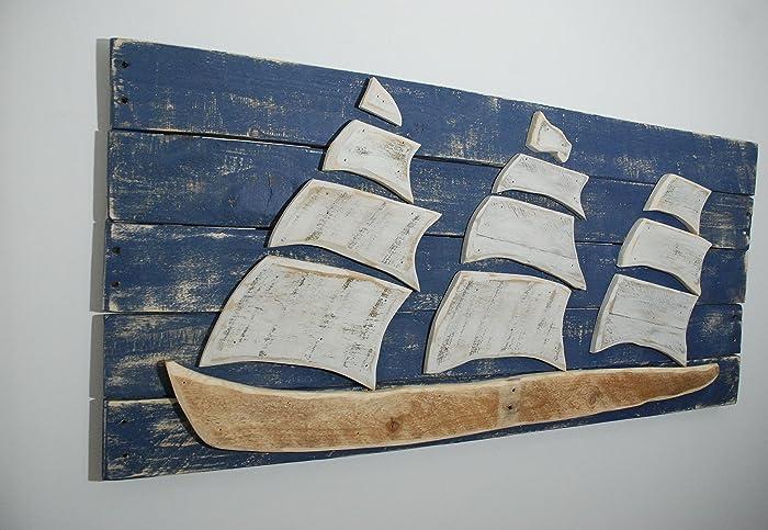 Ship Sailboat Sail Boat Wood Wall Art, Reclaimed Wood Ship, Sofa Art,  Nautical