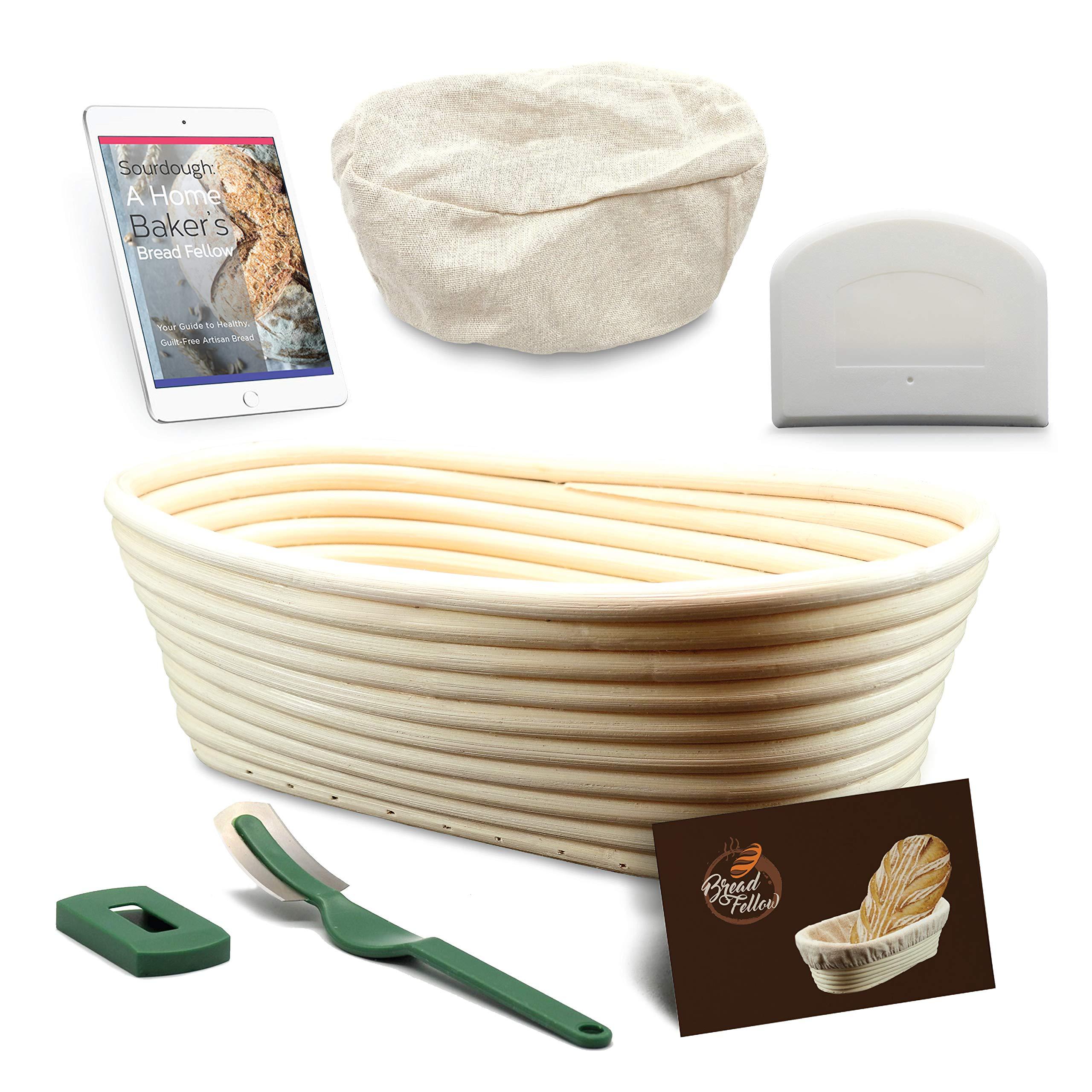 10 Inch Proofing Basket Oval Banneton Bread Basket - Bread Making Tools - Proofing Baskets for Sourdough Bread | Bread Scraper Dough | Bread Lame | Cloth Liner - Bread Baking Set by Bread Fellow