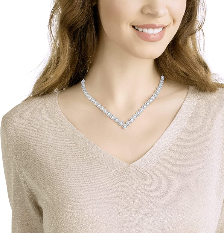 3ff53d1e5 Swarovski Angelic Square Necklace, Large, White, Rhodium plating ...
