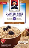 Quaker Instant Oatmeal, Gluten Free, Maple & Brown Sugar, Breakfast Cereal, 12.1 Oz (Pack of 6)