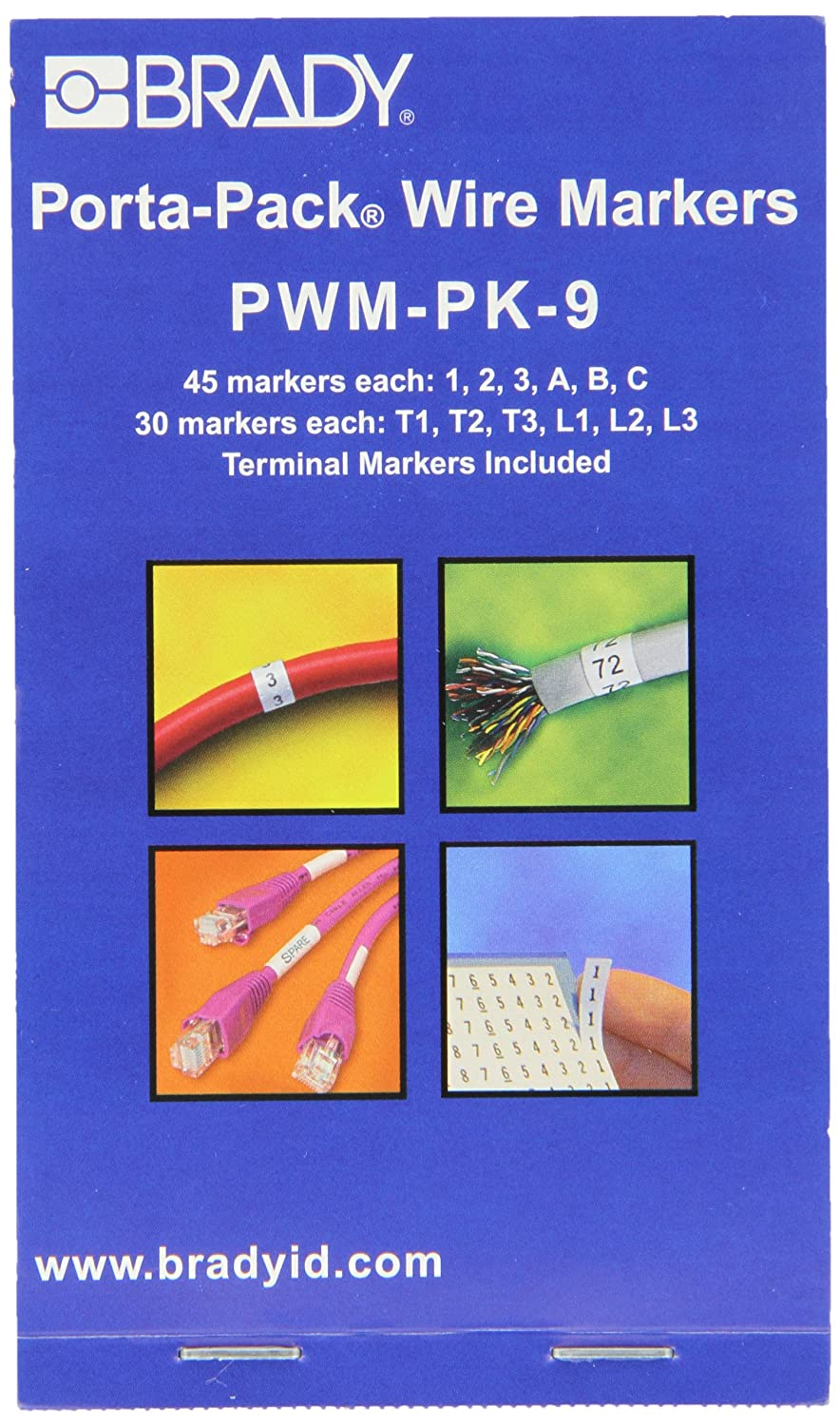 Pack of 10 Legend 20 Black on White Brady PWM-20 Wire Marker Repositionable Vinyl Cloth