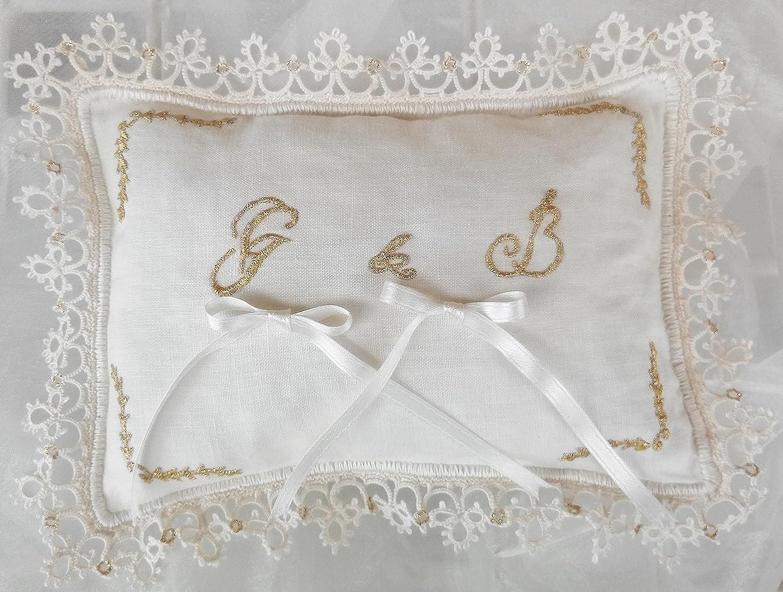 Cuscini Portafedi Ricamati A Mano.Cuscinetto Portafedi Per Matrimonio Ricamato A Mano