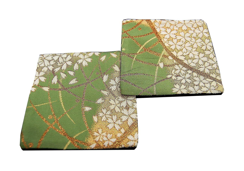 SHINSENDO KIMONO COASTER Japanese traditional fabrics Kinran 2 sheets set Pattern name: Moegi