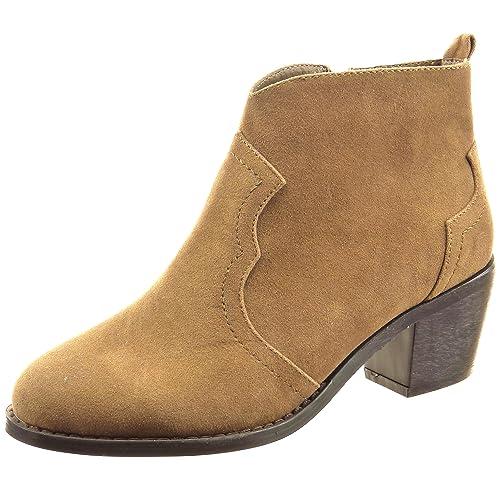 Sopily - Zapatillas de Moda Botines Cavalier Tobillo Mujer Acabado Costura Pespunte Talón Tacón Ancho Alto 6 CM - Camel CAT-3-DH934 T 41: Amazon.es: Zapatos ...