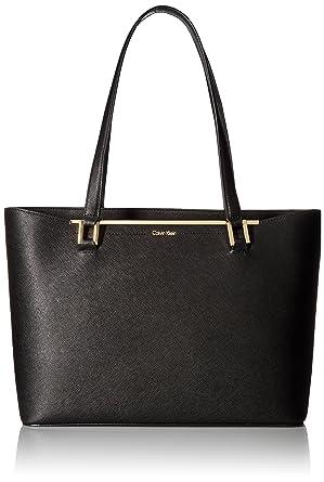 0af439ec69 Amazon.com: Calvin Klein Cindy Saffiano Tote, Black/Gold: Clothing