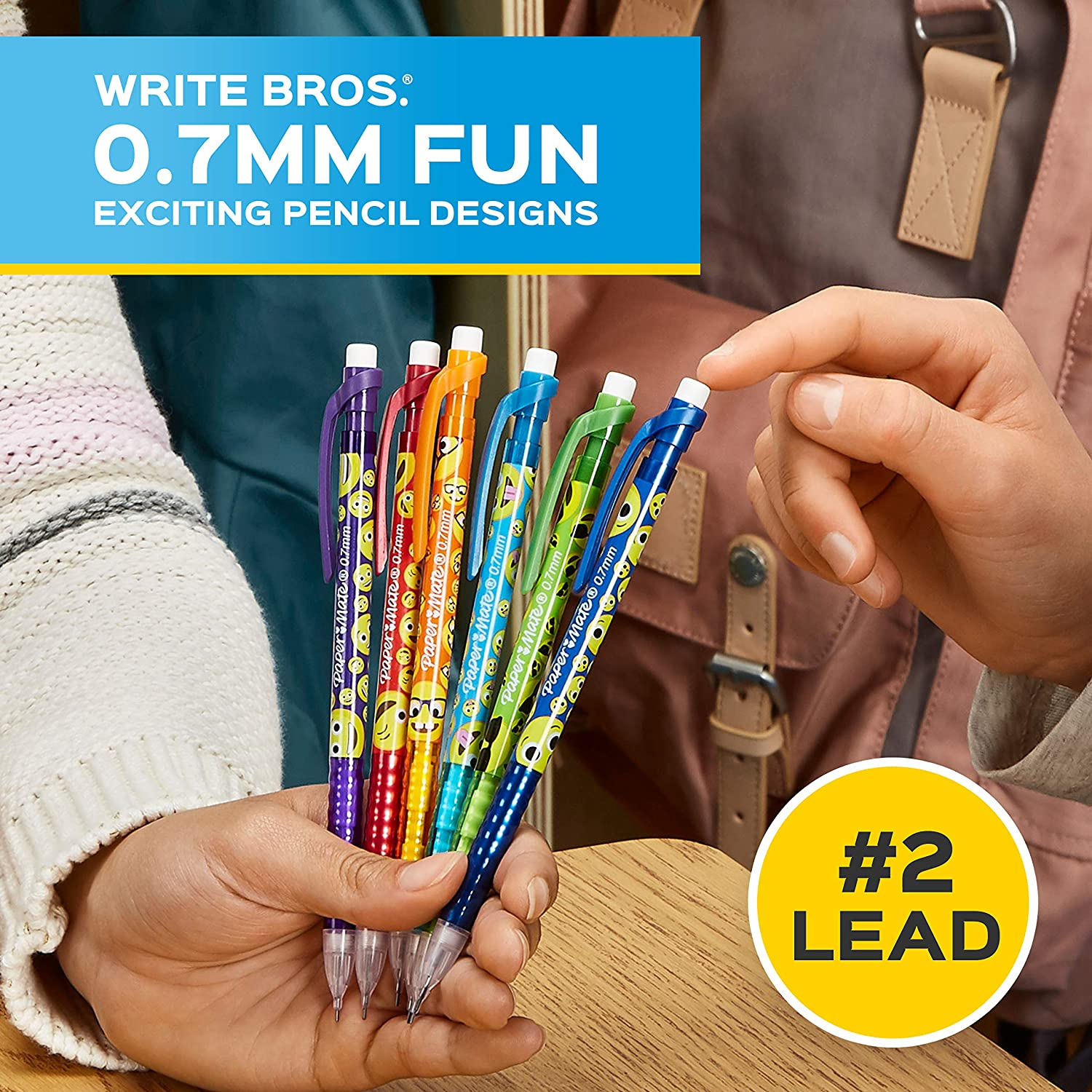Paper Mate Mechanical Pencils Fun #2 Pencil with Colorful Designs 24 Count 0.7mm Write Bros