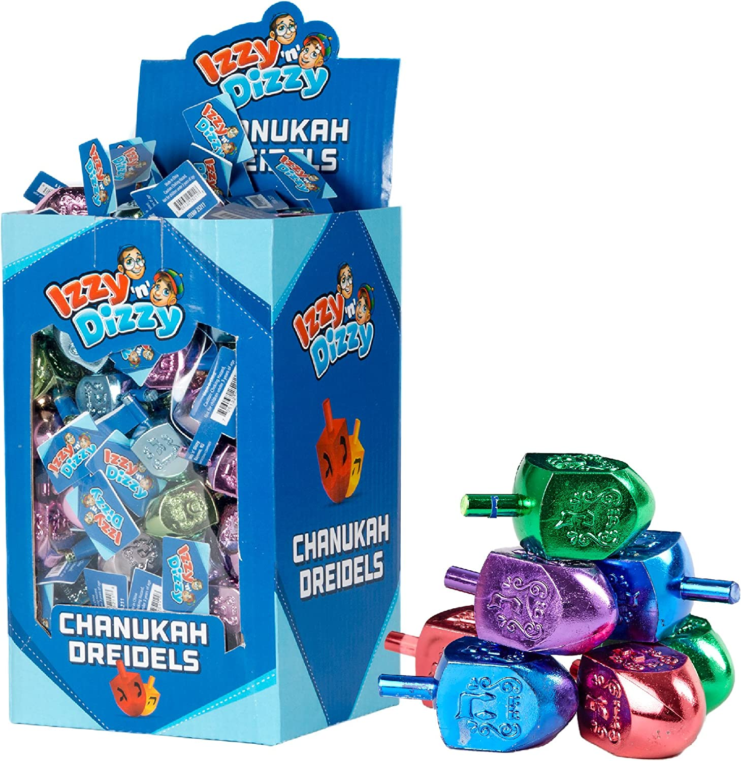 Metallic Colored Bulk Value Pack Classic Chanukah Spinning Draidel Game By Izzy n Dizzy Gift and Prize 50 Large Dreidels
