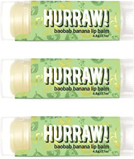 product image for Hurraw! Baobab Banana Lip Balm, 3 Pack: Organic, Certified Vegan, Cruelty and Gluten Free. Non-GMO, 100% Natural Ingredients. Bee, Shea, Soy and Palm Free. Made in USA