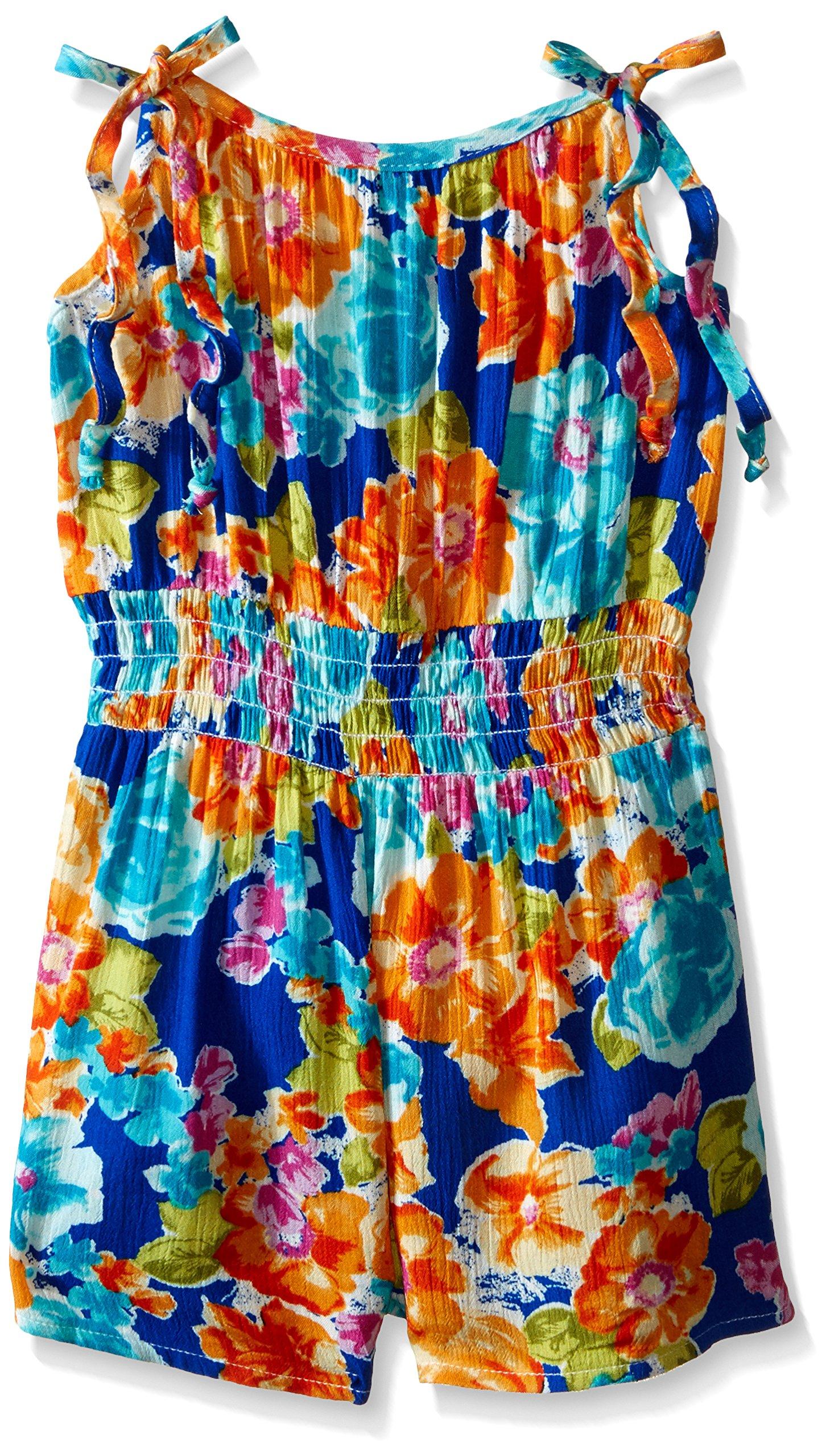 Bonnie Jean Royal, Toddler Girls' Floral Printed Rayon Romper Dress, Royal, 3T