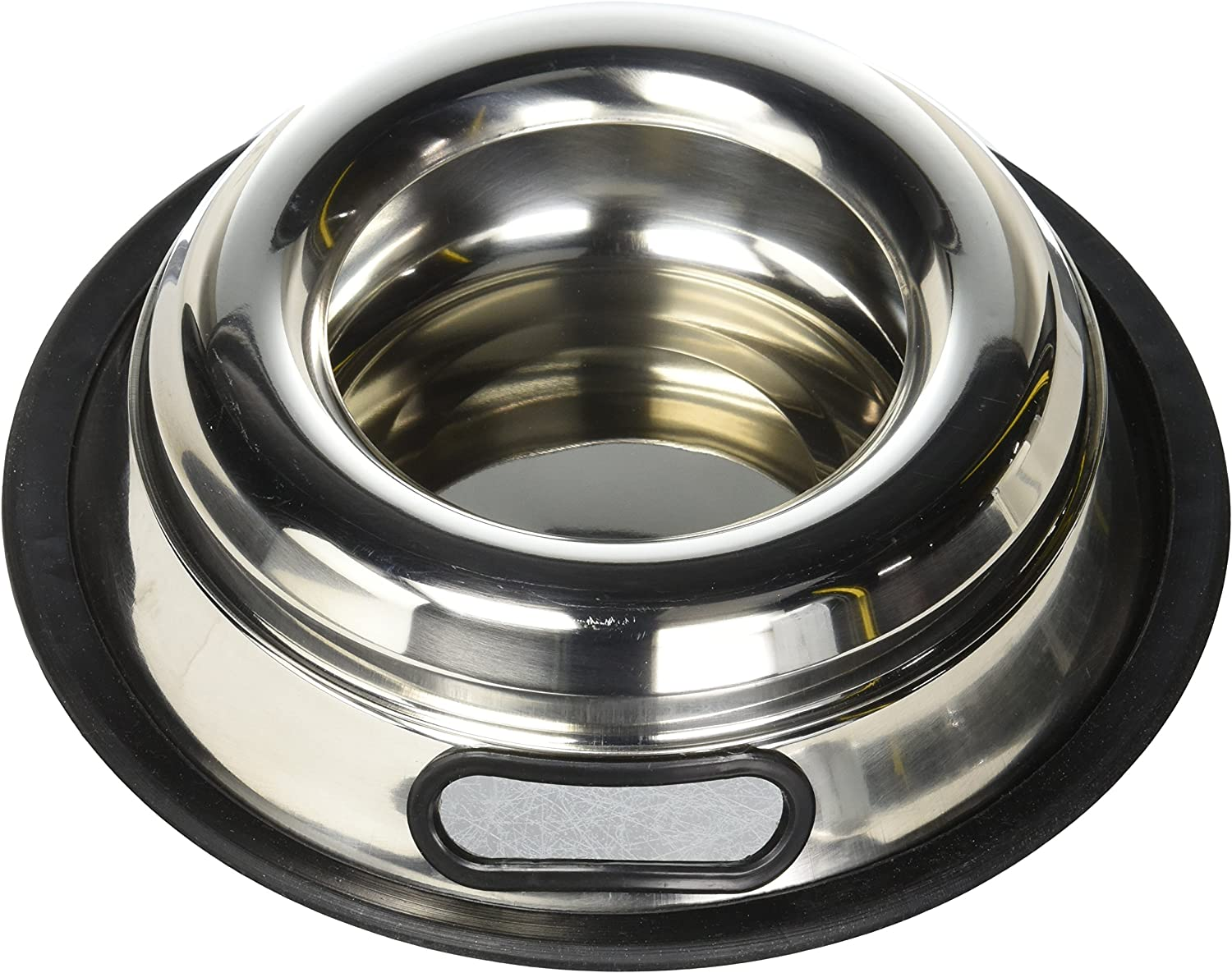 Indipets Stainless Steel Spill Proof Splash Free Dog Bowl - 16oz - Removable Cover and Easy Pick Up Grip Handle