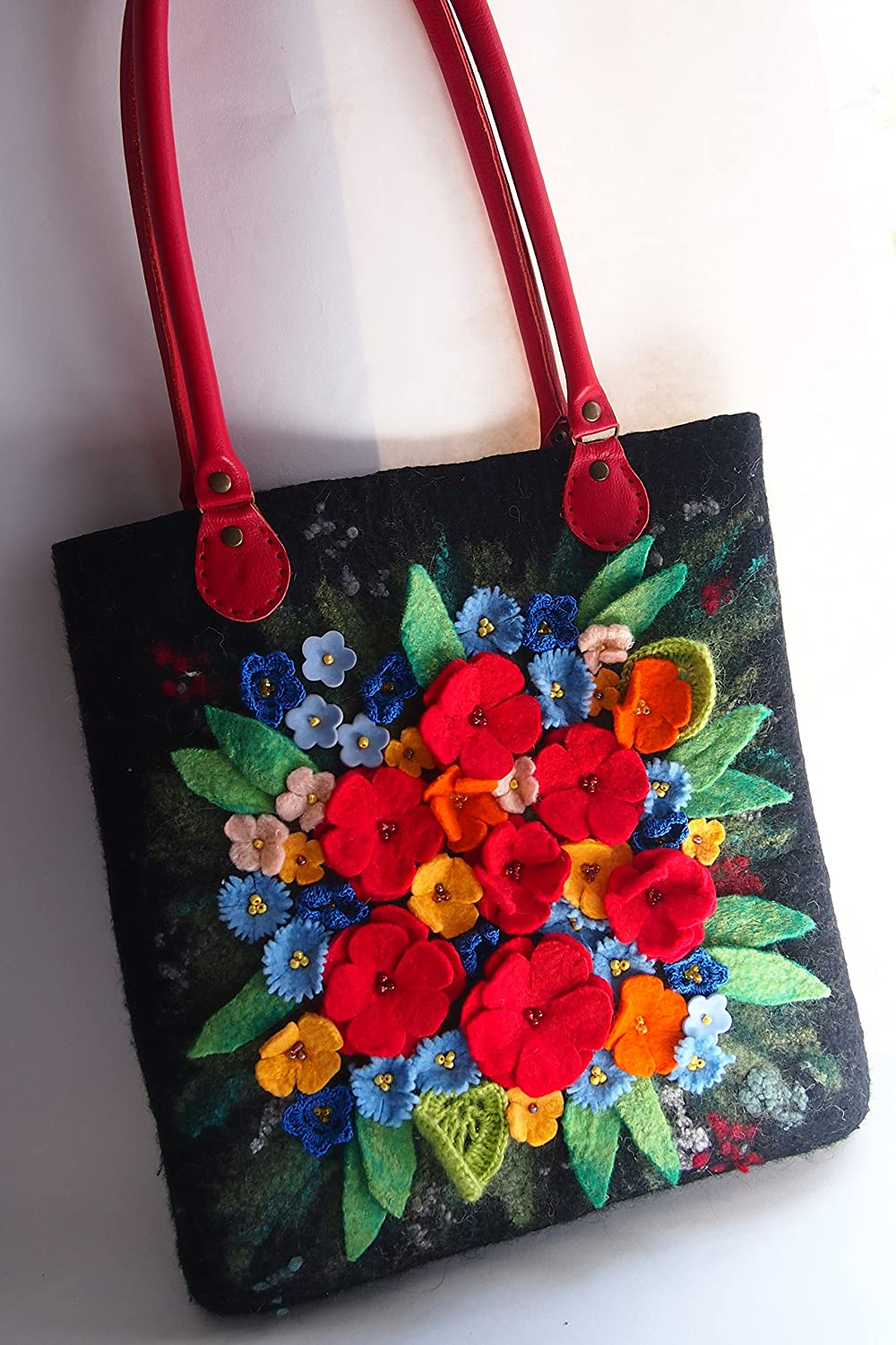 0b52114f1 Amazon.com: Felted floral tote bag for women, Floral handbag, Floral  shoulder bag, Flower handbag, Floral tote handbag, Floral bag, Floral purse,ready  to ...