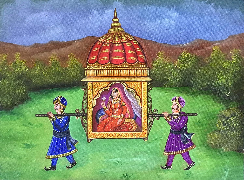 Rajasthani Palki Palanquin Painting Handmade Indian Ethnic Canvas Oil Decor Art