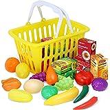 Kidzlane Play Food - 28 Piece Pretend Play Foods in Basket