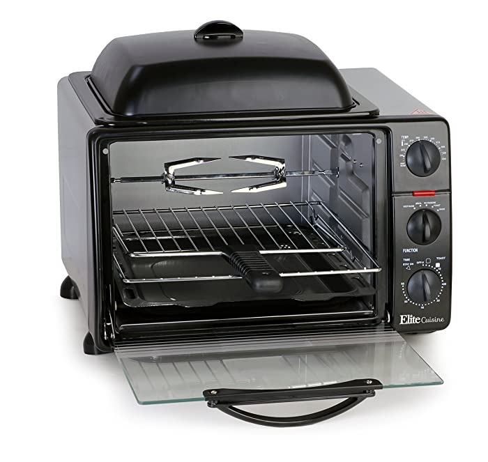"Elite Cuisine ERO-2008S Countertop XL Toaster Oven with Rotisserie, Bake, Grill, Broil, Roast, Toast, and Keep Warm, 60-min Timer with Stay-On, Auto-Off, 23L Capacity fits a 12"" Pizza, 6-Slice, Black"