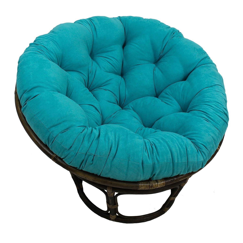 "Blazing Needles Solid Microsuede Papasan Chair Cushion, 48"" x 6"" x 48"", Aqua Blue"