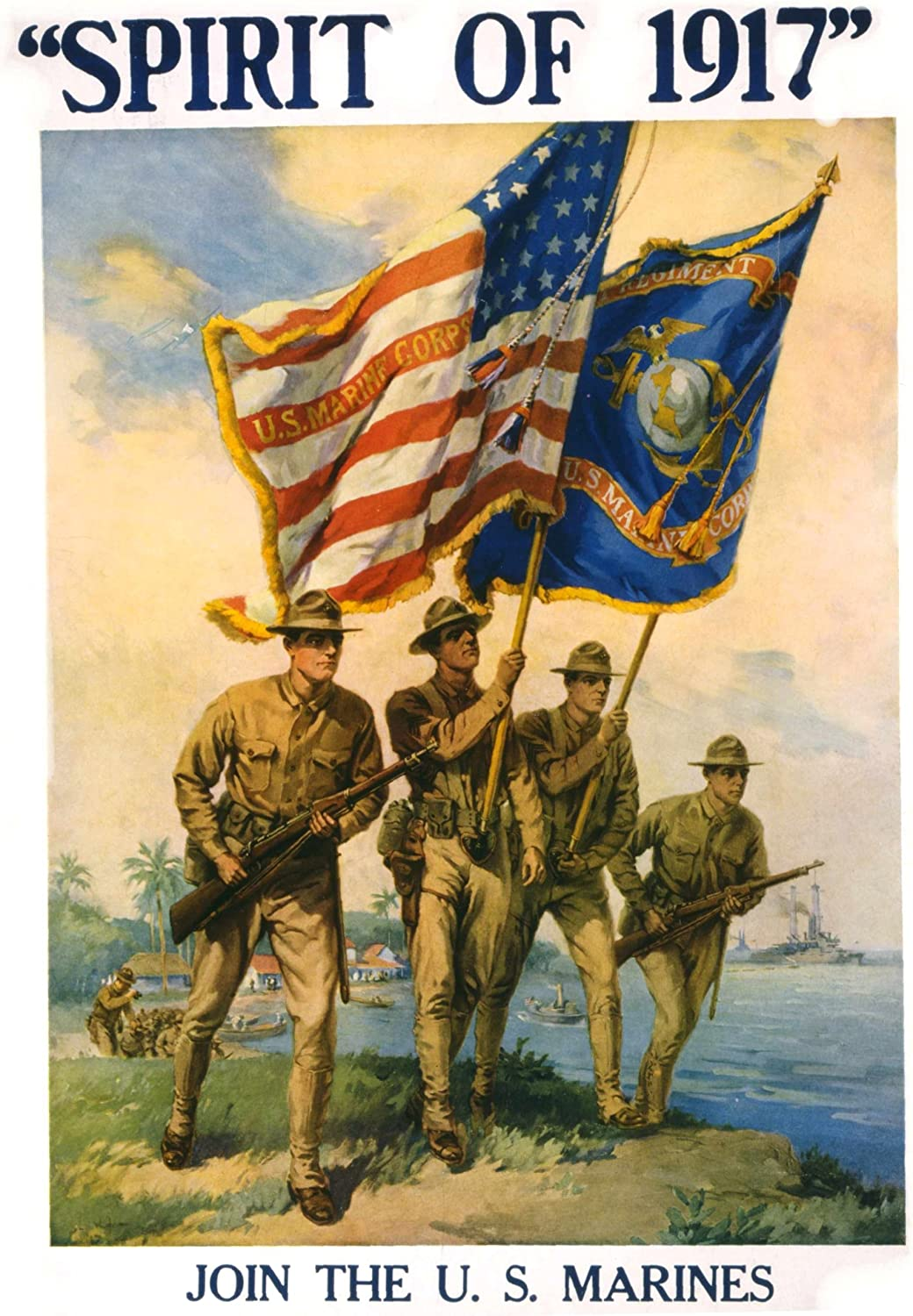 WORLD WAR II marines coast guard tribute poster MILITARY COLLECTORS 24X36