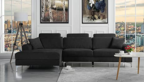Superbe Modern Large Linen Fabric Sectional Sofa, L Shape Couch With Extra Wide  Chaise Lounge