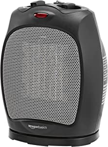 AmazonBasics 1500W Oscillating Ceramic Heater with Adjustable Thermostat, Black