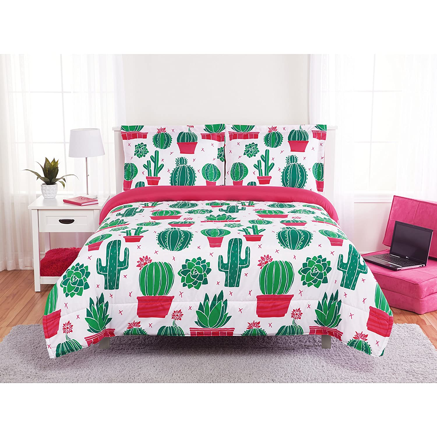 Unkk 2 Piece Girls White Pink Green Cactus Themed Comforter Twin Set, Cute Fun Cacti Floral Pot Plant Bedding, Multi Desert Flower Potted Plants All Over X Pattern, Microfiber