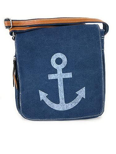 b858d202fd403 Umhängetasche Canvas Style mit Anker Motiv - Maße ohne Riemen 28 x 29 cm -  Damen Mädchen Teenager Tasche (blau)  Amazon.de  Schuhe   Handtaschen