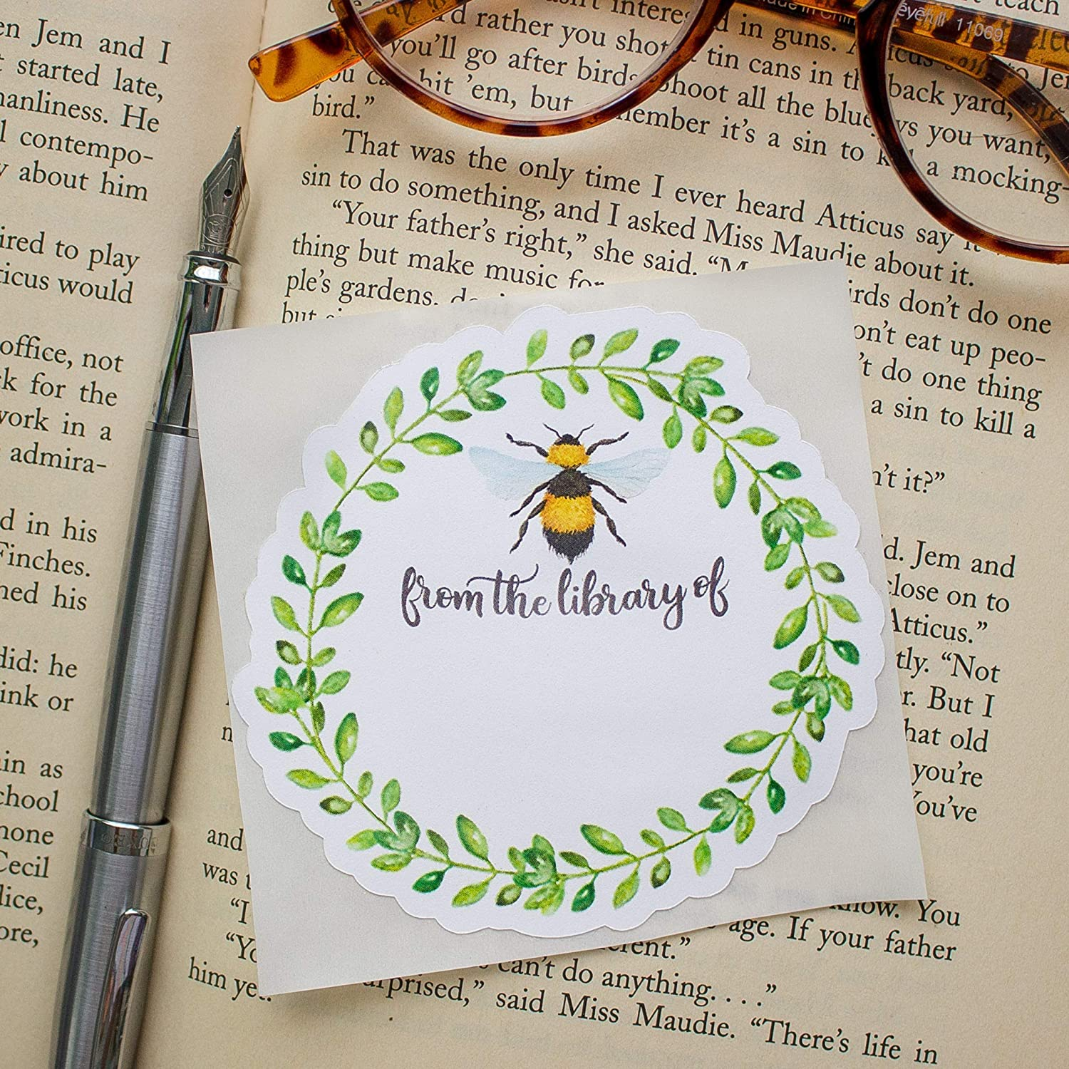 Book plate Labels Bumblebee Bookplates Personalized Self Adhesive Stickers Set of 10