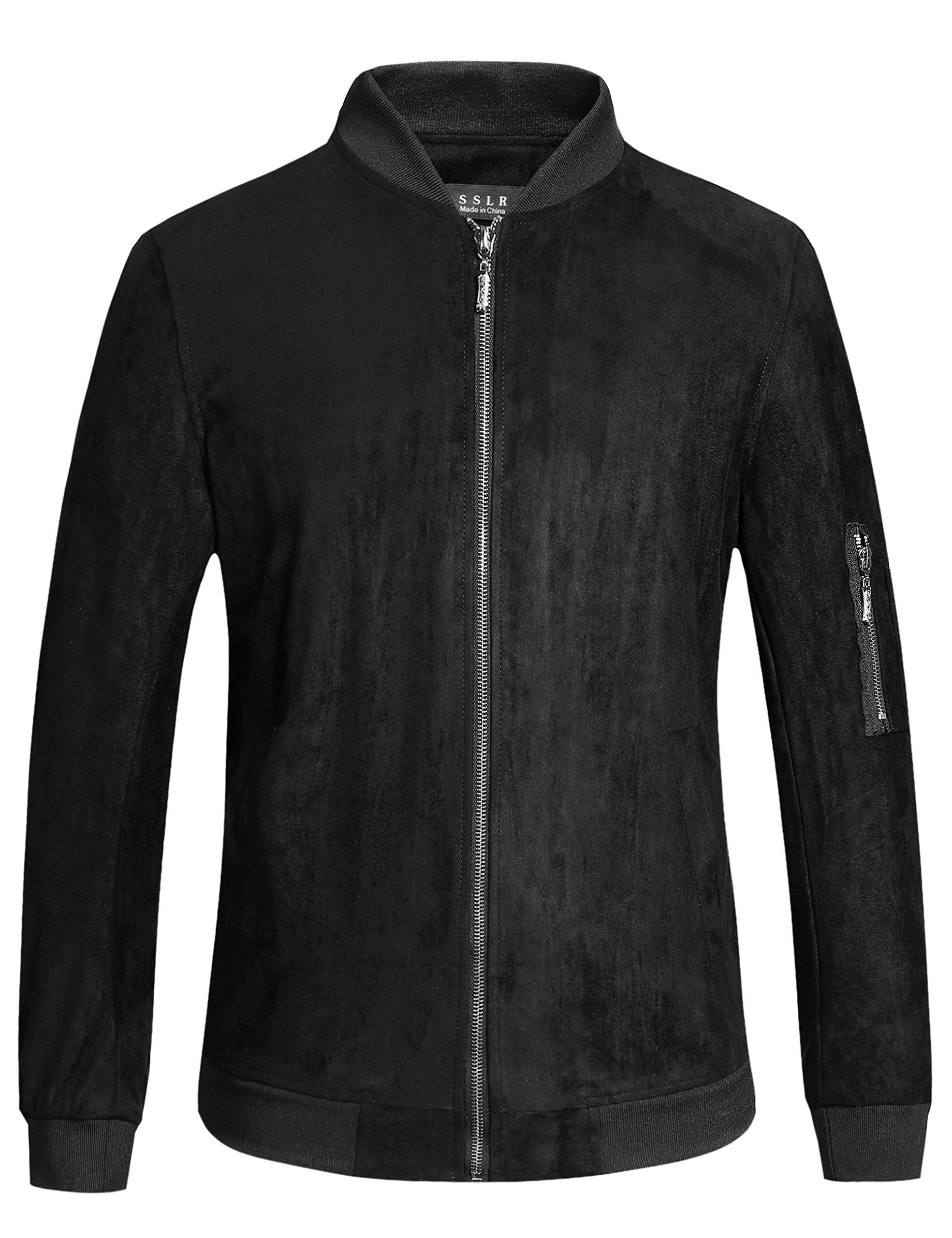 SSLR Men's Lightweight Solid Casual Bomber Suede Jacket (Large, Black)