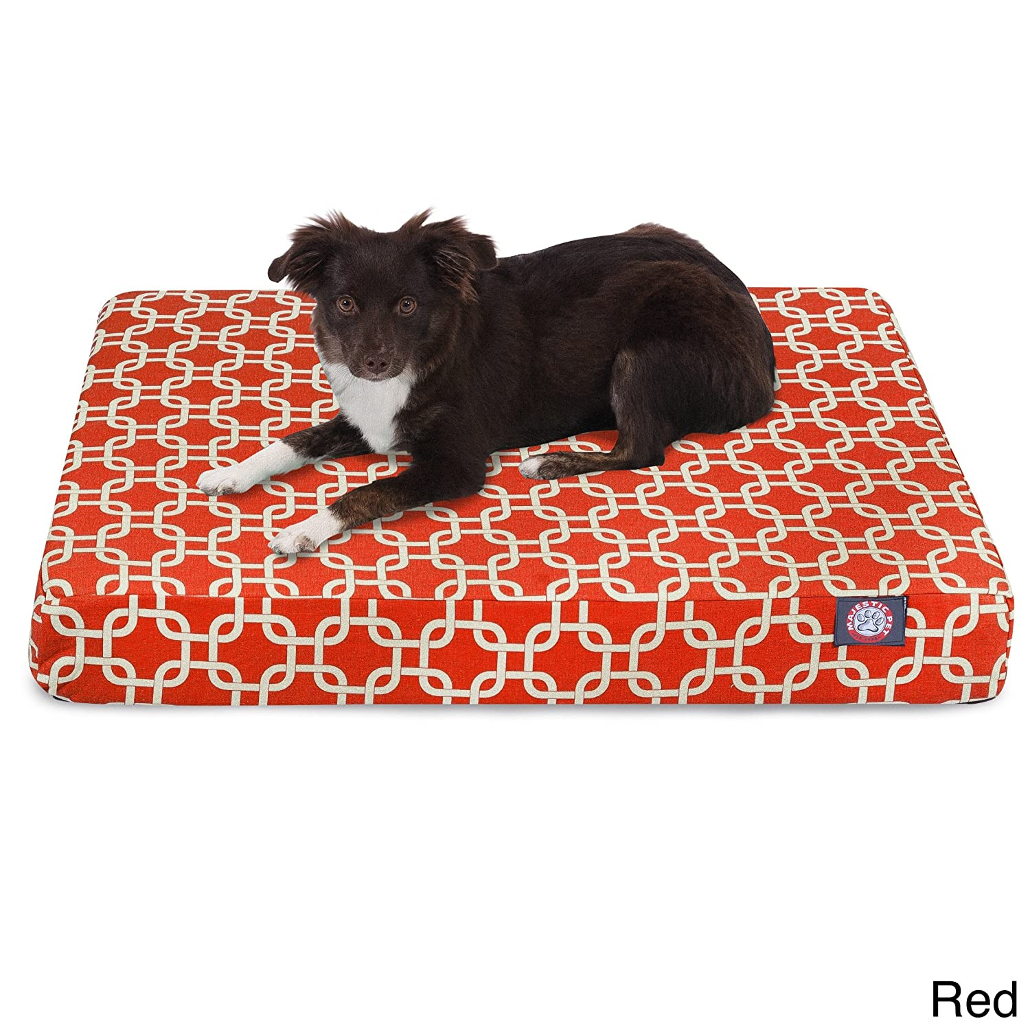 Majestic Pet Products Majestic Pet Links Orthopedic Memory Foam Rectangle Dog Bed Red Medium 85%OFF