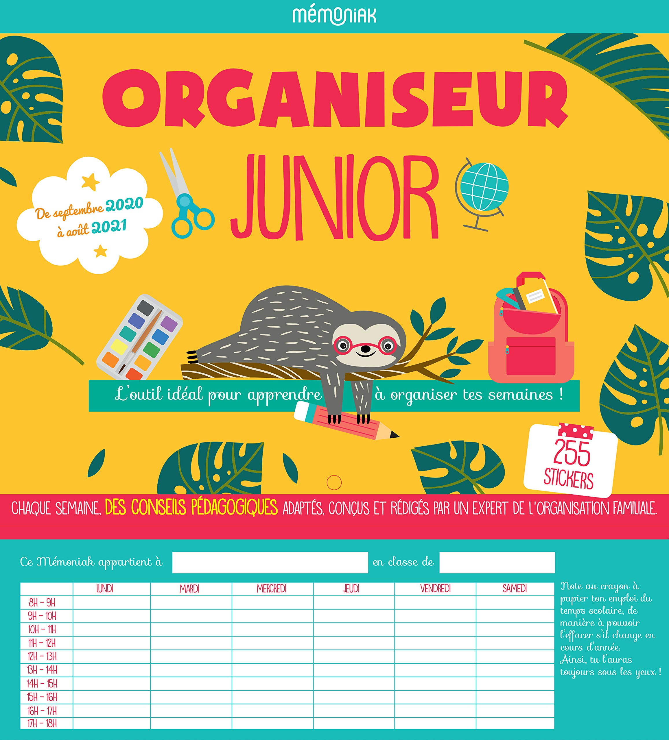 Organiseur Junior Mémoniak 2020 2021 (CALENDRIERS ENFANTS MEMONIAK