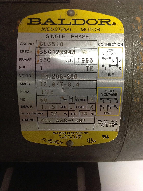 1 hp baldor capacitor wiring baldor electric  cl3510  motor  1 hp  1725 rpm  115 230v  56c  motor  1 hp  1725 rpm  115 230v  56c