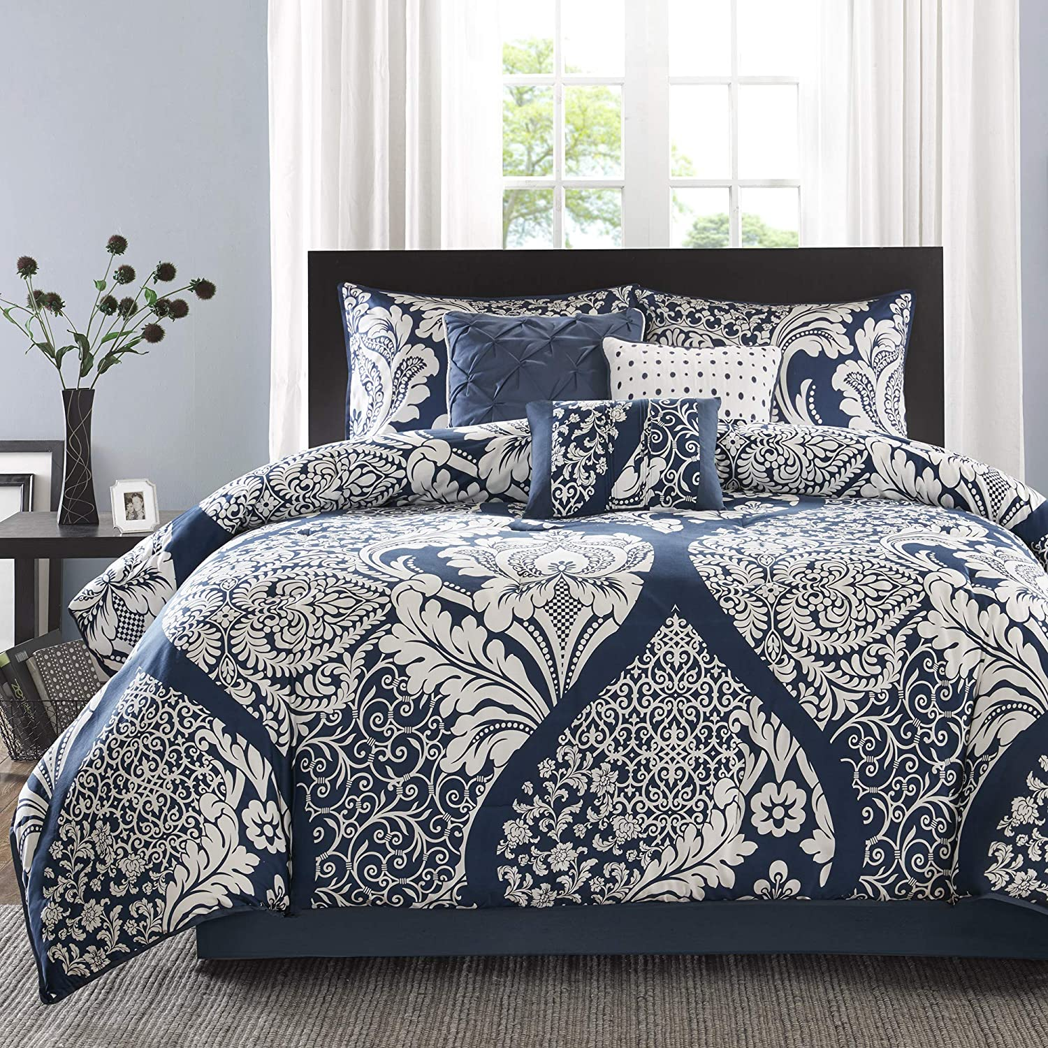 "Madison Park Sateen Cotton Comforter Set-Traditional Luxe Design All Season Lightweight Bedding, Shams, Bedskirt, Decorative Pillows, King(104""x92""), Vienna, Damask Indigo 7 Piece"