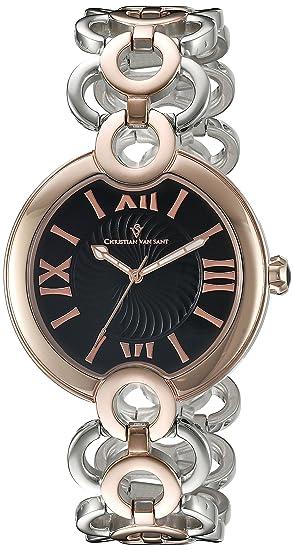 10d528e0fe7 Christian Van Sant Women s CV2815 Twirl Black Two-Tone Stainless Steel Watch   Amazon.ca  Watches