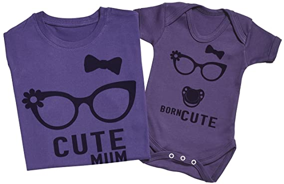 Born Cute - Matching Mother Baby Gift Set - Womens T Shirt   Baby Bodysuit - 62509a2a1