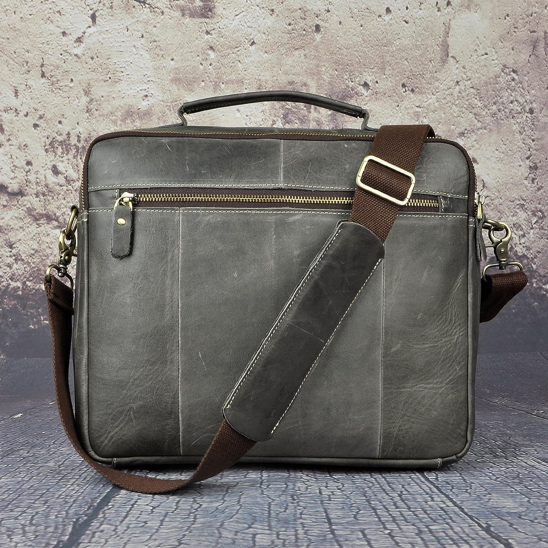 Dark Brown Leaokuu Original Leather Vintage Mens Business Travel Laptop Computer Case Best Professional Executive Portfolio Lawyer Briefcase Handles Organizer Shoulder Strap Messenger Bag For Men B260