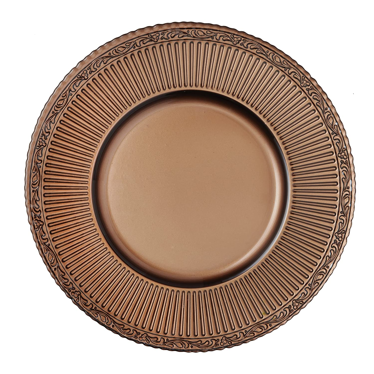 Elegant Brown 4-Piece Glass Charger Set