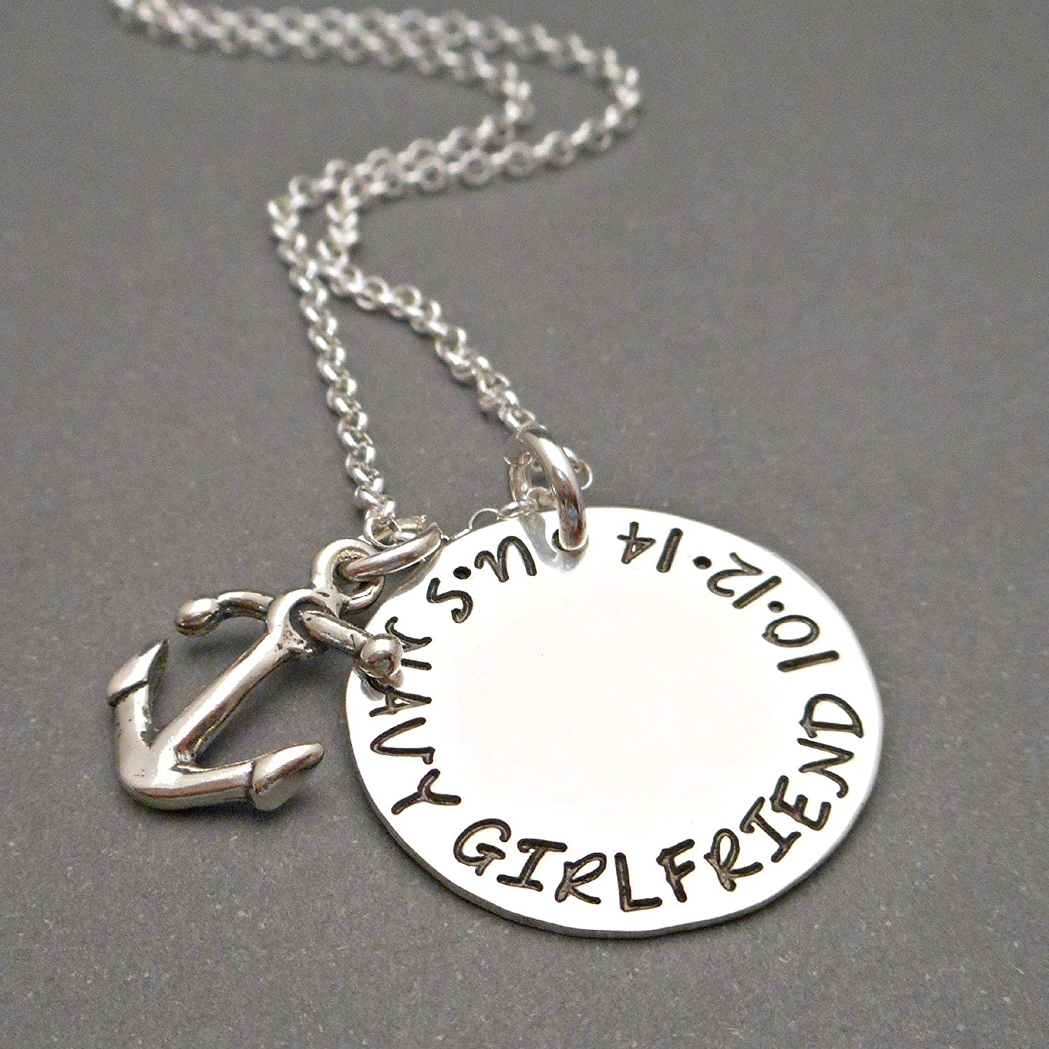 Sterling Silver Navy Girlfriend Necklace TAG