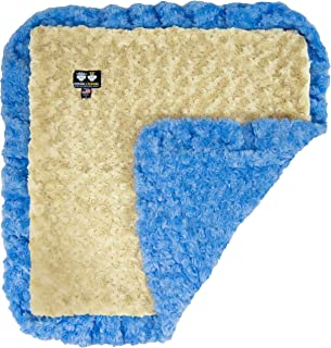 product image for B07F6ZJ7ND Bessie and Barnie Blue Sky Ruffle/Camel Rose Luxury Ultra Plush Faux Fur Pet, Dog, Cat, Puppy Super Soft Reversible Blanket (Multiple Sizes)