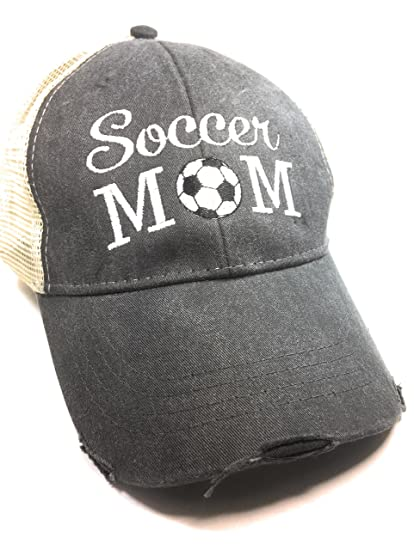 Image Unavailable. Image not available for. Color  Mary s Monograms Soccer  Mom Black Distressed Trucker Baseball Hat a49c7fc59904