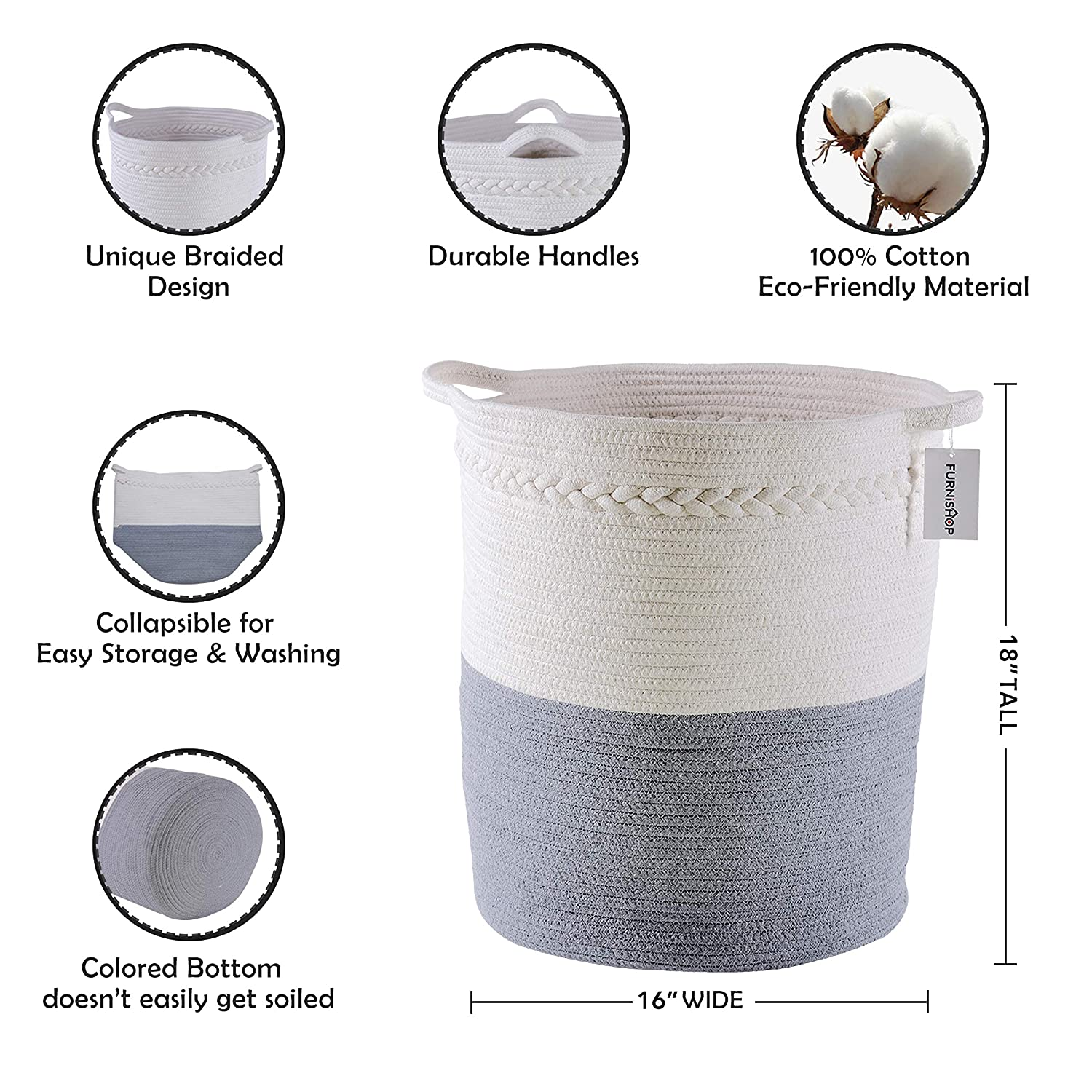 Woven Basket with Handle FURNISHOP Cotton Rope Blanket Basket with 4pcs Laundry Bag Baby Nursery Pillow Decorative Woven Storage Basket for Living Room 14.5x17 Large Baskets for Blankets Toy