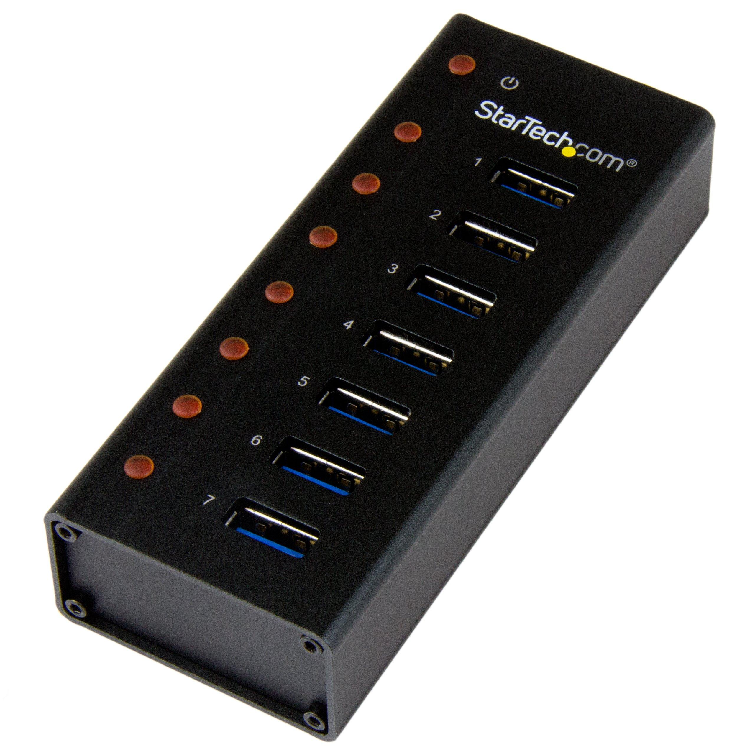 7 Port USB 3.0 Hub - Metal Enclosure - Desktop or Wall Mountable - USB 3 Hub - USB Extender - Powered USB 3.0 Hub - USB Splitter by StarTech
