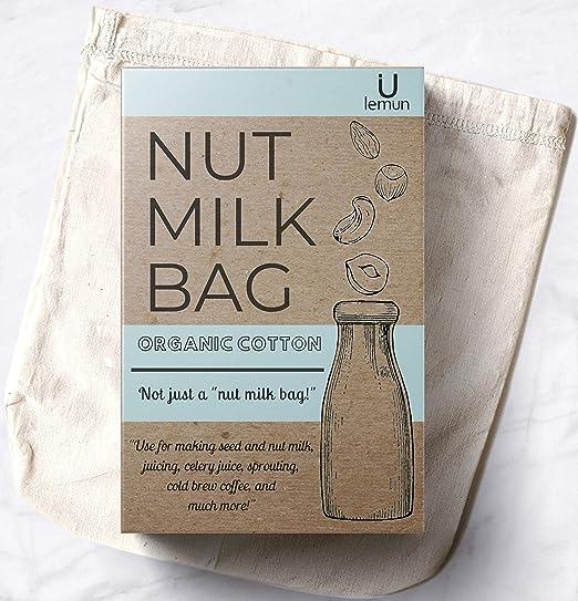100/% Organic Cotton Nut Milk Bag Reusable Food Strainer Tea Juice Filter