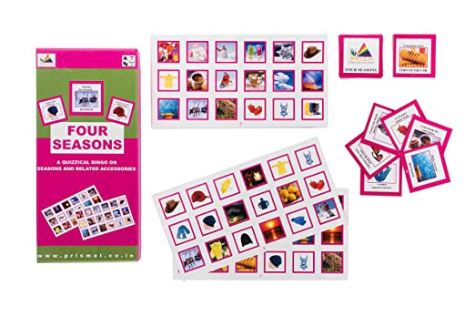 Prism Edutives Four Seasons A Clue Based Pictorial On Seasons And Related Vocabulary Bingo (Green and Pink)