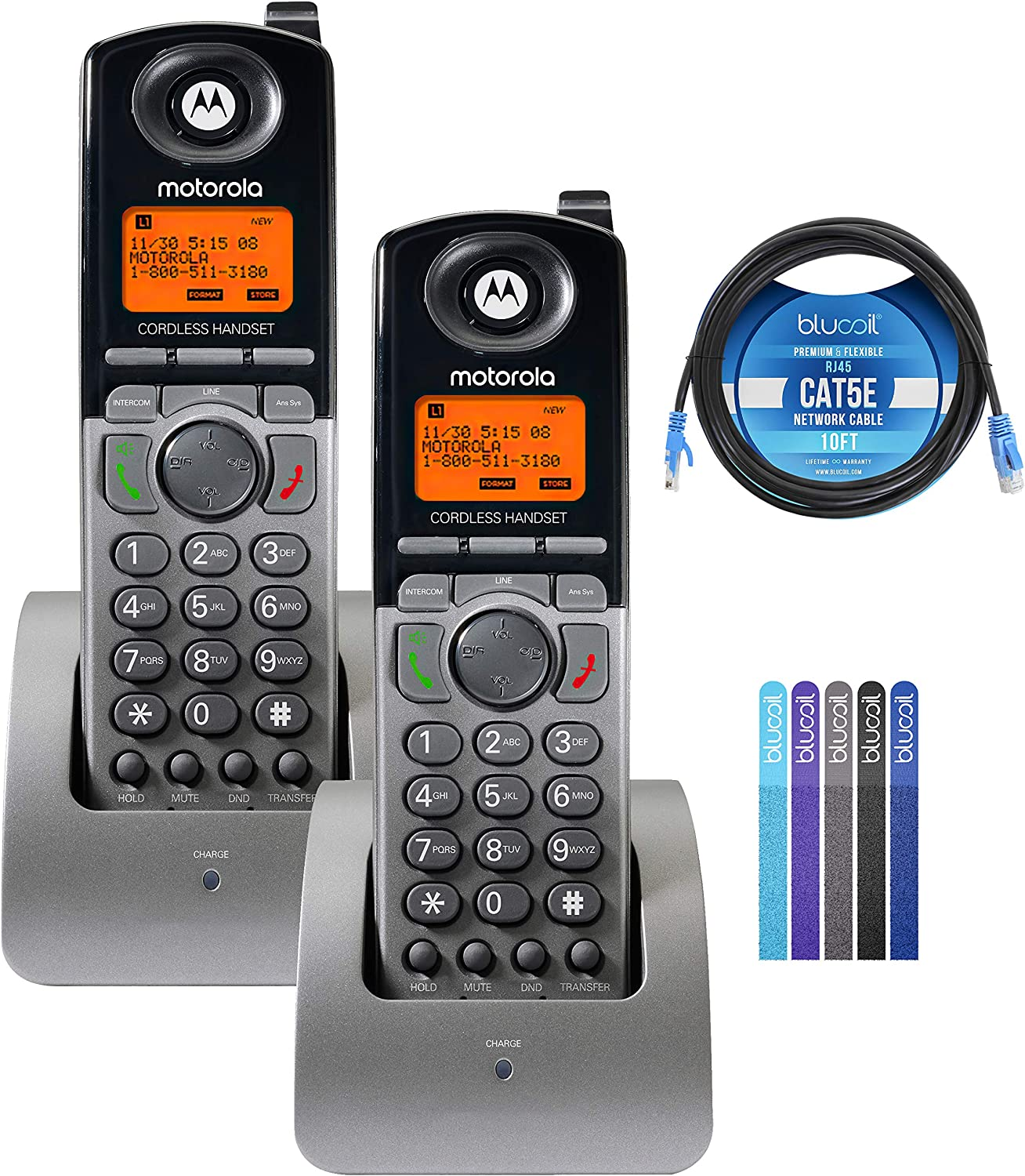 Motorola ML1200 DECT 6.0 Expandable 4-Line Cordless Handsets with Digital Receptionist and Voicemail (2-Pack) Bundle with Blucoil 10-FT 1 Gbps Cat5e Cable, and Reusable Cable Ties (5-Pack)