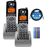 Motorola ML1200 DECT 6.0 Expandable 4-Line Cordless Handsets with Digital Receptionist and Voicemail (2-Pack) Bundle with Blu