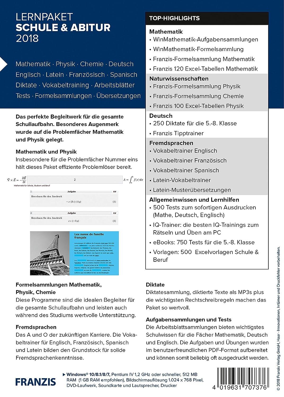 FRANZIS Lernpaket Schule und Abitur 2018 Software|2018|3 Geräte ...