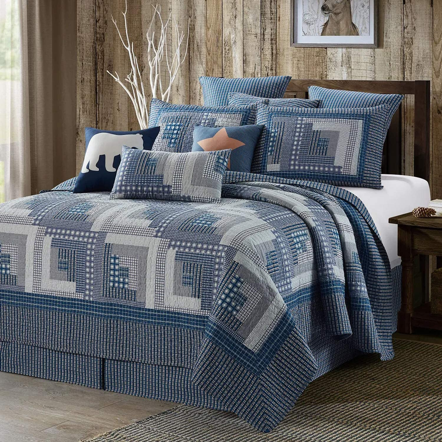 Quilt Bedding Set in King by Virah Bella - Montana Cabin: Blue/Gray Printed Lightweight Reversible Quilt with 2 Matching Pillow Shams - Cozy & Beautiful Lodge-Themed Bedding